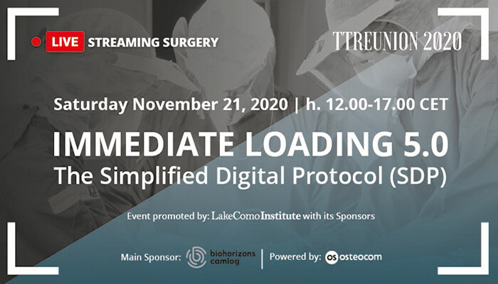 Sabato 21 Novembre: TT reunion 2020. IMMEDIATE LOADING 5.0. THE SIMPLIFIED DIGITAL PROTOCOL (SDP)